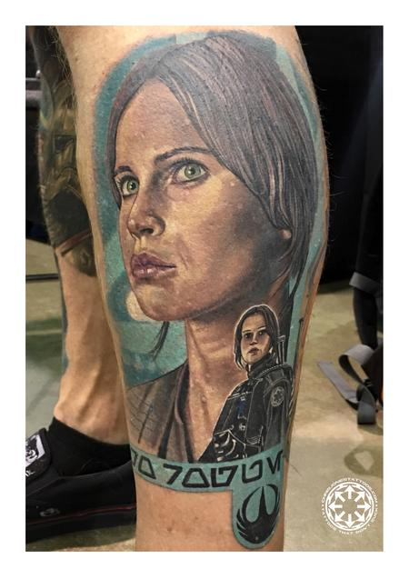Tattoos - Color portrait of Jyn Erso from Rogue One - 122223