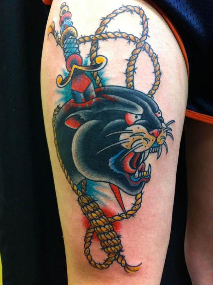Panther head tattoo by Chris Smith: TattooNOW