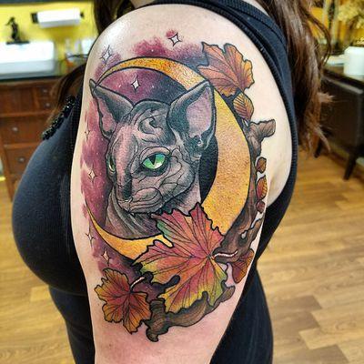 Cat moon tattoo Tattoo Design