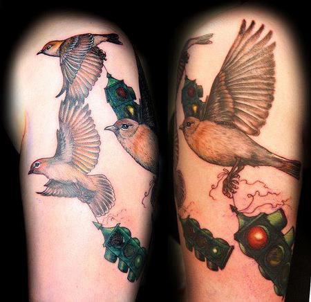 Fly Away Stoplight Birds Tattoo Tattoo Design Thumbnail