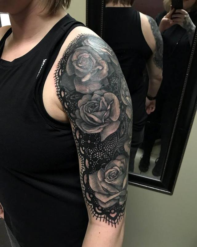 lace and rose half sleeve by christina walker tattoonow. Black Bedroom Furniture Sets. Home Design Ideas