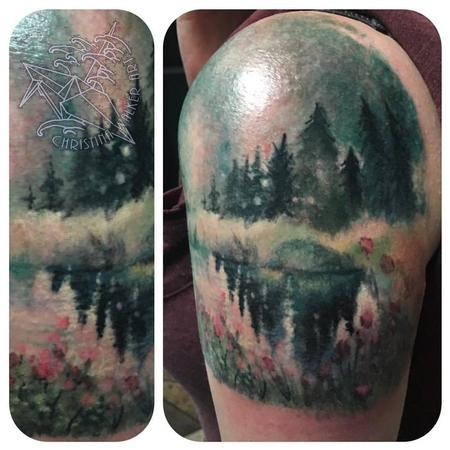 Tattoos - Watercolor Lake Scene - 113910