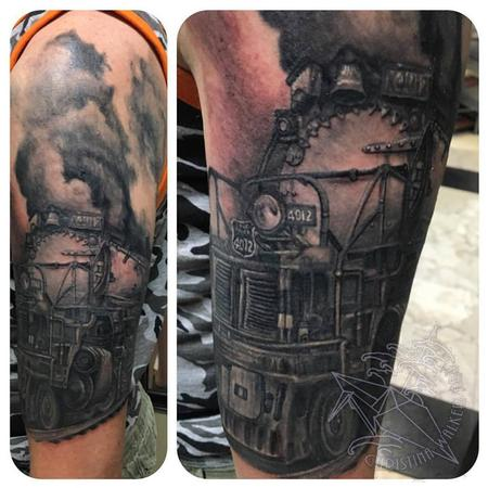 Tattoos - Black and Gray Train Half Sleeve - 111814