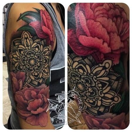 Tattoos - Peonies and Mandala Half Sleeve - 109300