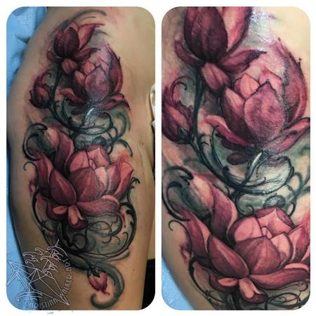 Tattoos - Watercolor style Lotus flowers  - 114067