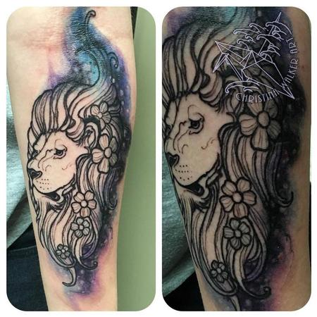 Tattoos - Watercolor Floral Lion  - 114579