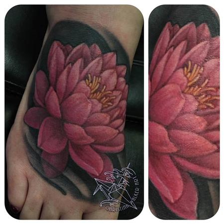 Tattoos - Water Lily foot tattoo  - 122143
