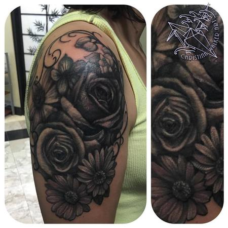 Tattoos - Black and Gray Floral Half Sleeve - 122152