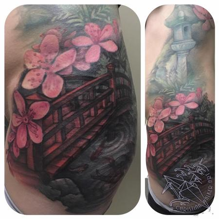Tattoos - Japanese garden bridge and Koi fish - 125121