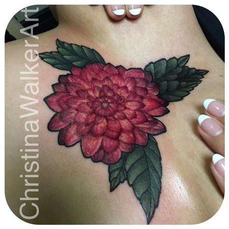 Tattoos - Dahlia sternum piece  - 125741