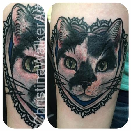 Tattoos - Cat Portrait in an ornate frame  - 127728