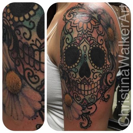 Tattoos - Floral Watercolor Skull - 129665