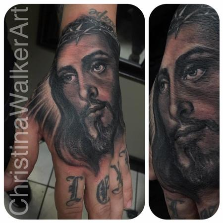 Tattoos - Jesus Hand Portrait - 129669