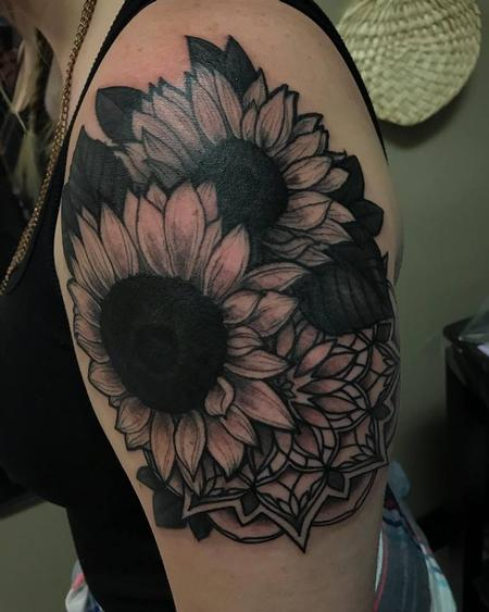 Tattoos - Sunflower and mandala upper arm piece - 134258