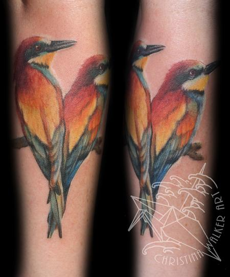 Tattoos - Colorful love birds - 77719