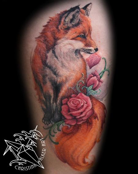 Tattoos - Watercolor Fox thigh piece - 111817