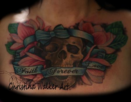 Christina Walker - Skull And Magnolias Chest Piece
