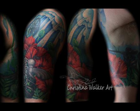 Christina Walker - Floral memorial half sleeve