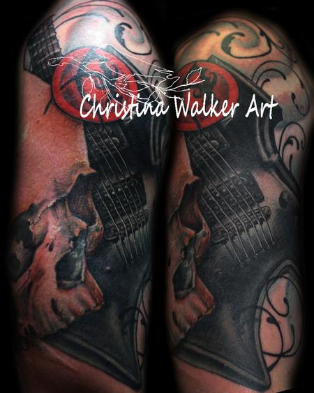 Christina Walker - Realistic Skull and Guitar