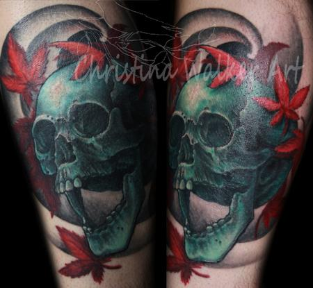 Christina Walker - Teal Skull And Maple Leaves
