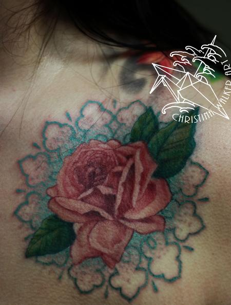 Lace and Roses Close up Tattoo Design Thumbnail