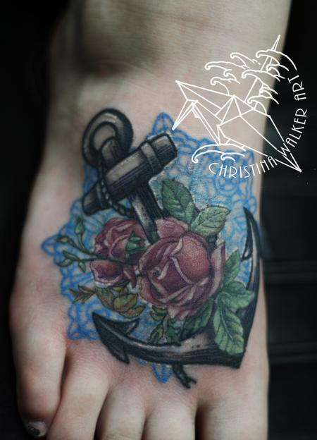 Tattoos - Anchor and Roses - 73922
