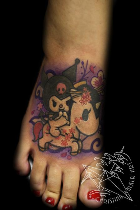 Christina Walker - Sanrio and Tokidoki foot tattoo!