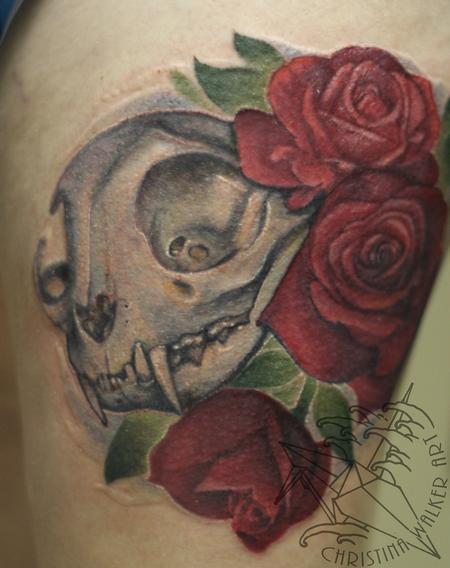 Tattoos - Cat Skull and Roses - 81005