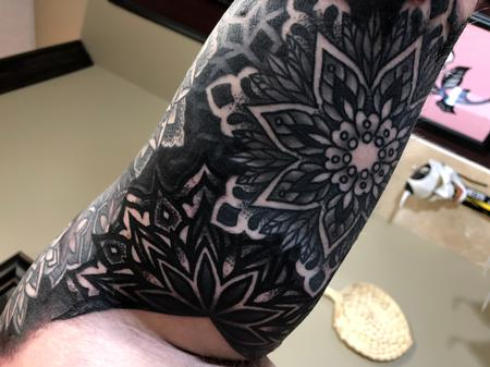Underarm of finished geometric and mandala half sleeve Tattoo Design Thumbnail