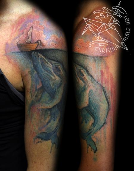 Tattoos - Watercolor Whale Half Sleeve - 94520