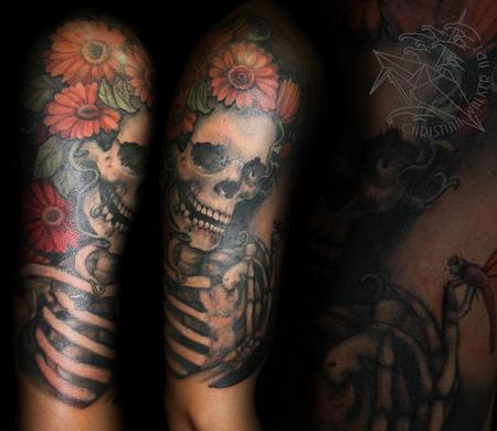 Tattoos - Skeleton and daisy half sleeve - 95278
