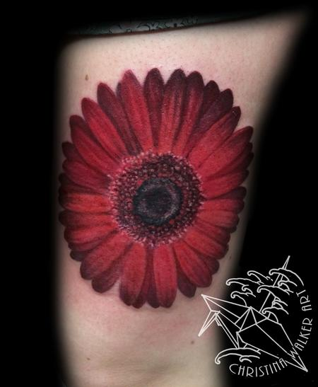 Red Gerbera Daisy Tattoo Design Thumbnail