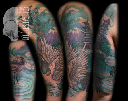Tattoos - Crane Half Sleeve - 66104