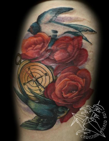 Tattoos - Swallows and roses - 84425