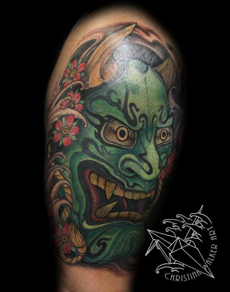 Green Ornate Hannya Half Sleeve Tattoo Design Thumbnail