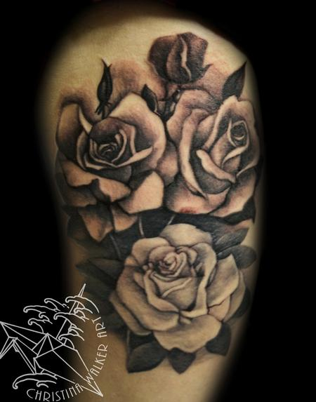 Tattoos - Black and Gray Roses - 88732
