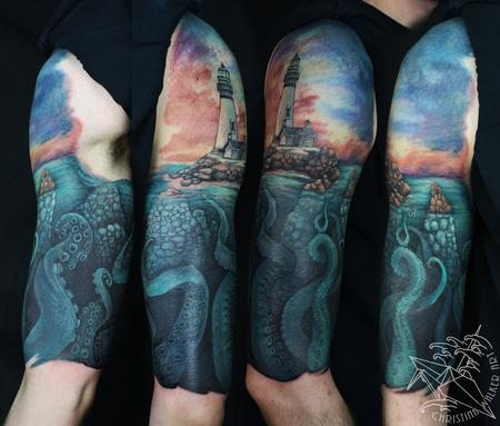 Tentacle and Lighthouse half sleeve Tattoo Design Thumbnail