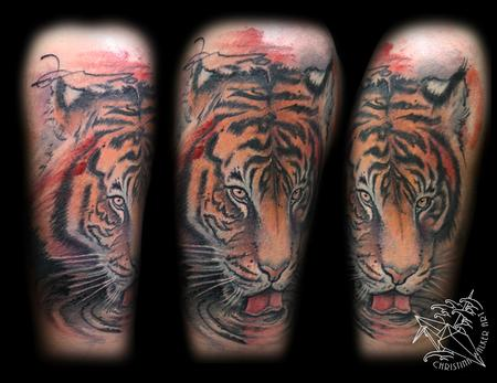 Tattoos - Watercolor Style Tiger Half Sleeve - 99661