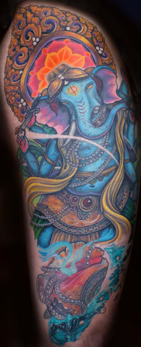 Tattoos - Color Ganesh Tattoo - 89509