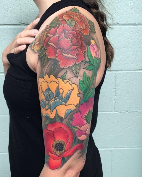 Full Color Flower Half Sleeve Tattoo by Eddie Zavala ...