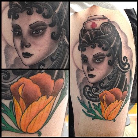 Traditional style Nurse with Golden Poppy  Design Thumbnail