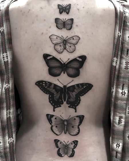 Tattoos - Black and Grey Butterflies - 116845