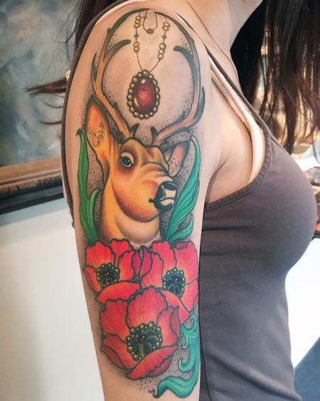 Ornate Buck and Poppies Halfsleeve Design Thumbnail