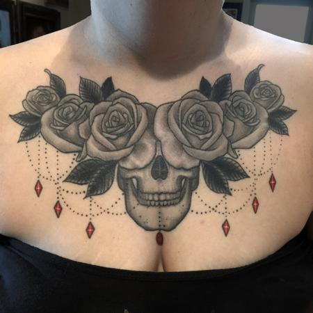 Eddie Zavala - Black ad grey Skull and Roses healed