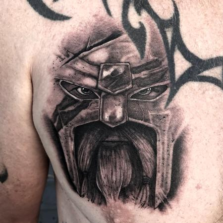 Tattoos - Black and Grey Viking from For Honor - 130522