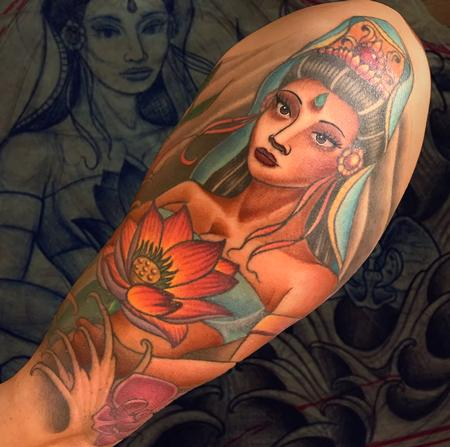 Tattoos - QUAN YIN AND ORCHIDS - 132336