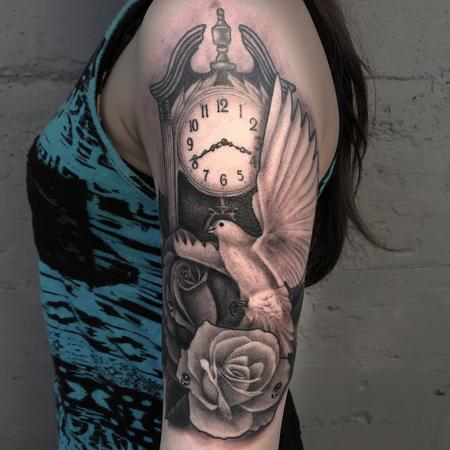 Eddie Zavala - BLACK AND GREY CLOCK, ROSES AND DOVE