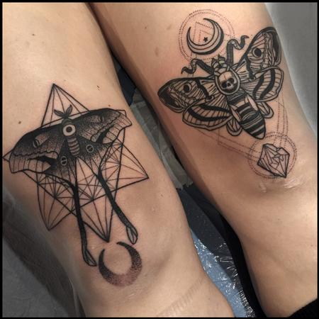 Tattoos - Luna moth and Death's Head moth with geometric shapes - 123797
