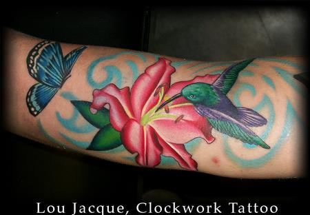 Tattoos hummingbird and lily