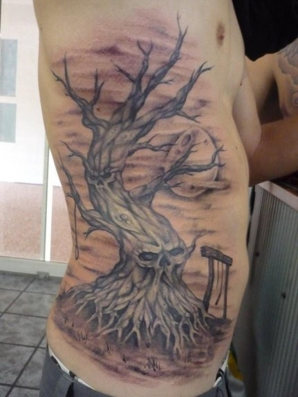 Looking for unique Ben Laukis Tattoos Skull Tree Rib Tattoo